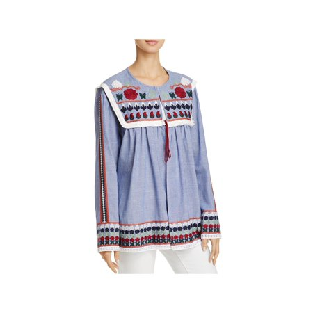 Velzera Womens Embroidered Fringe Cardigan -