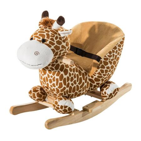 Qaba Kids Plush Toy Rocking Horse Giraffe Themed Chair Seat w/ Song - Horse Racing Toy