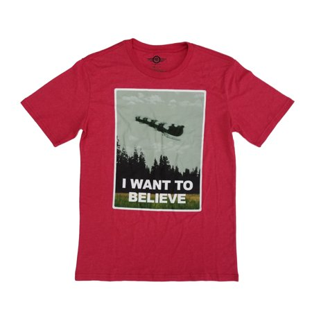 Mens Heather Red I Want To Believe Santa Sleigh Christmas T-Shirt ()