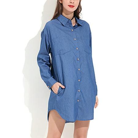 Women's Casual Long Sleeve Denim Button Down Shirt Dresses (Pinstripe Button Down Dress Shirt)