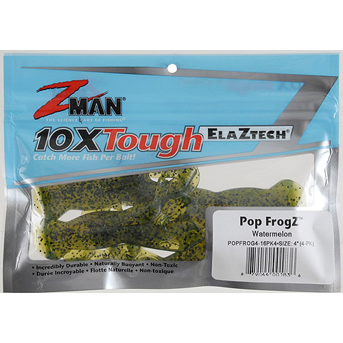 "Z-Man Pop 4"" FrogZ Baits, Watermelon, 4-Pack"