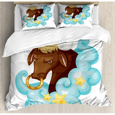 Zodiac Taurus Queen Size Duvet Cover Set, Cosmic Cartoon Art Bull Character behind Blue Fluffy Cloud with Yellow Stars, Decorative 3 Piece Bedding Set with 2 Pillow Shams, Multicolor, by Ambesonne](Fluffy Boots)