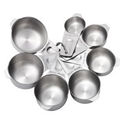 7 Pcs Measuring Cups Stainless Steel Stackable Kitchen Tool Scoops Set