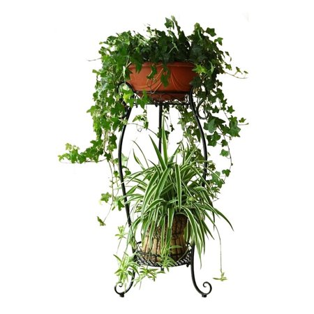 DAZONE Demountable Metal 2 Tiers Plant Stand Indoor Floor Model Potted Plant Rack (Black)