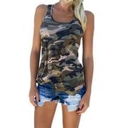 S-5XL Camouflage Print Tank Tops Plus Size Women Vest