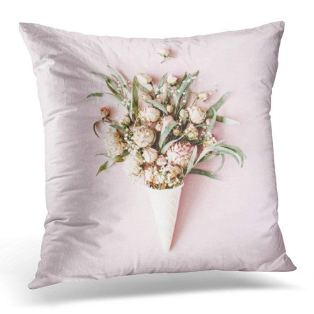 (ARHOME Green Flower Waffle Cone with Roses Bouquet on Pink Flat Lay Top View White Minimal Pillow Case Pillow Cover 20x20 inch)