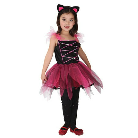 Spooktacular Girls' Lovely Cat Dress-Up Costume Set with Tail, M - Halloween Spooktacular 2017