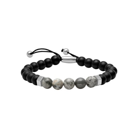 Men's Stainless Steel, Onyx, and Mapstone Bead Bolo Bracelet