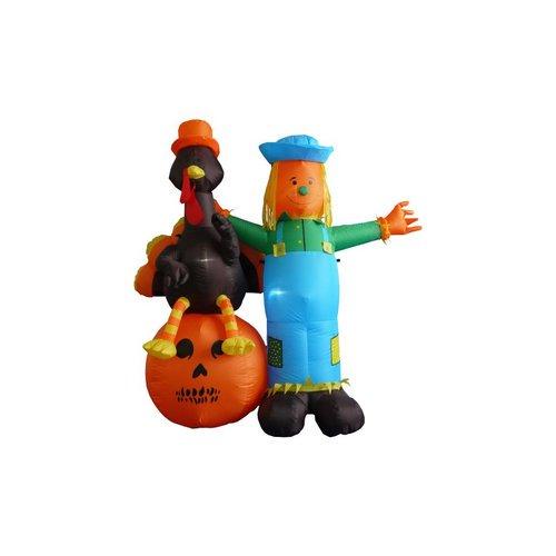 6 Foot Thanksgiving Inflatable Scarecrow Turkey Pumpkin Walmart Com Walmart Com