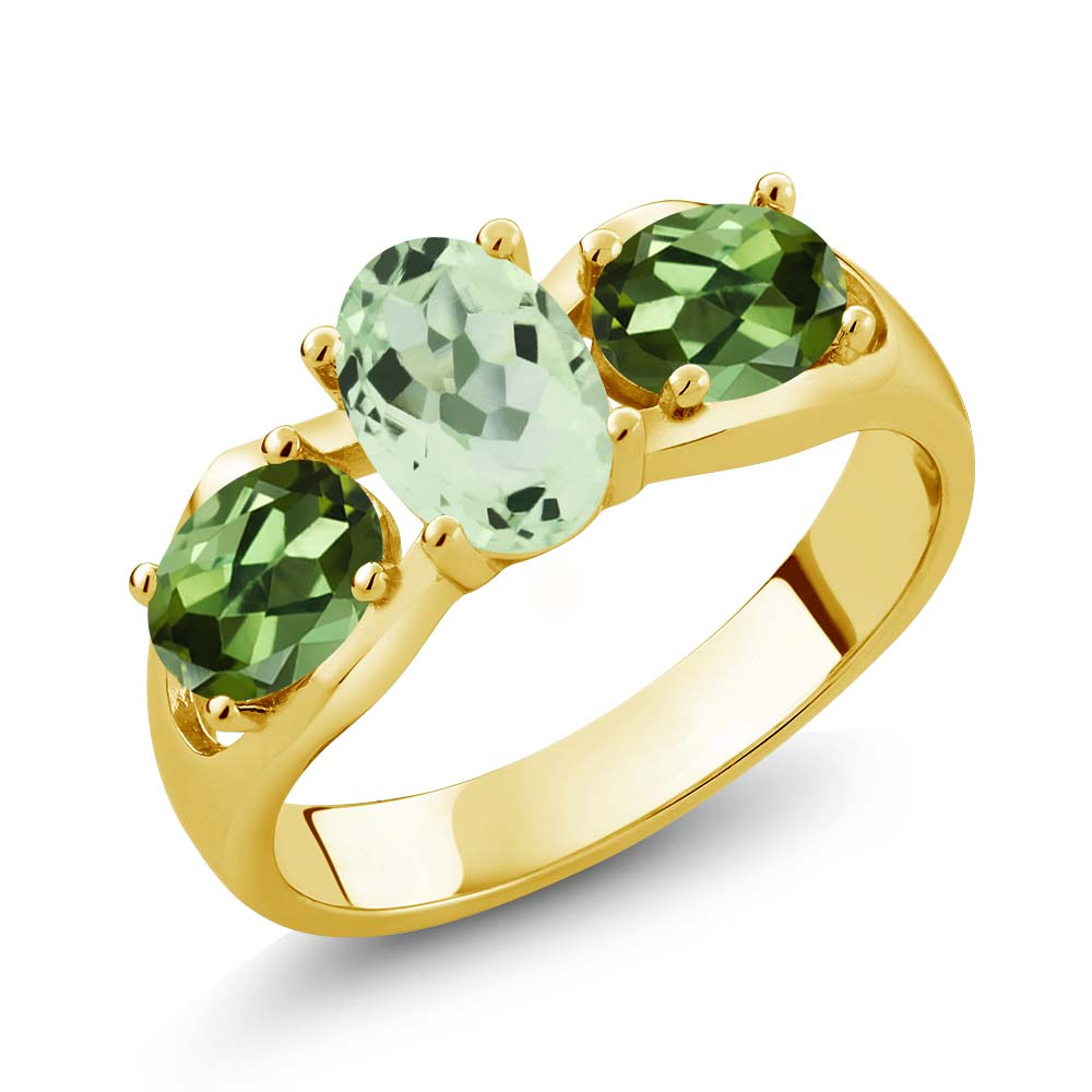1.75 Ct Oval Green Amethyst Green Tourmaline 18K Yellow Gold Ring by
