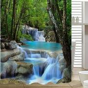 Waterproof Bathroom Shower Curtain Forest Waterfall Rocks Pattern Art Decor 78 x 70 Inch