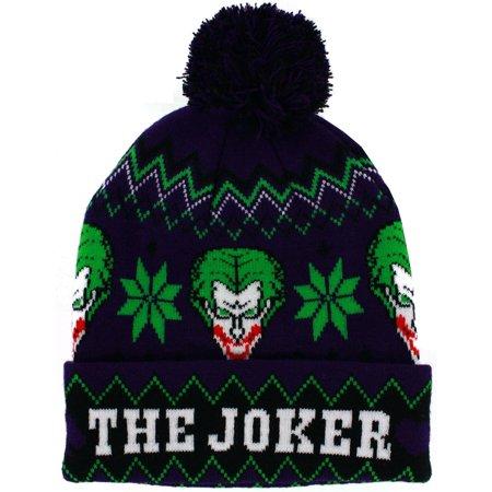 The Joker Intarsia Cuffed Knit Hat with Pom](Joker Hat Batman)