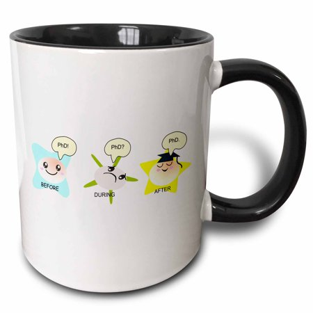 3dRose PhD funny process cartoon before during after humorous graduation gift - Two Tone Black Mug, 11-ounce](Religious Graduation Gifts)