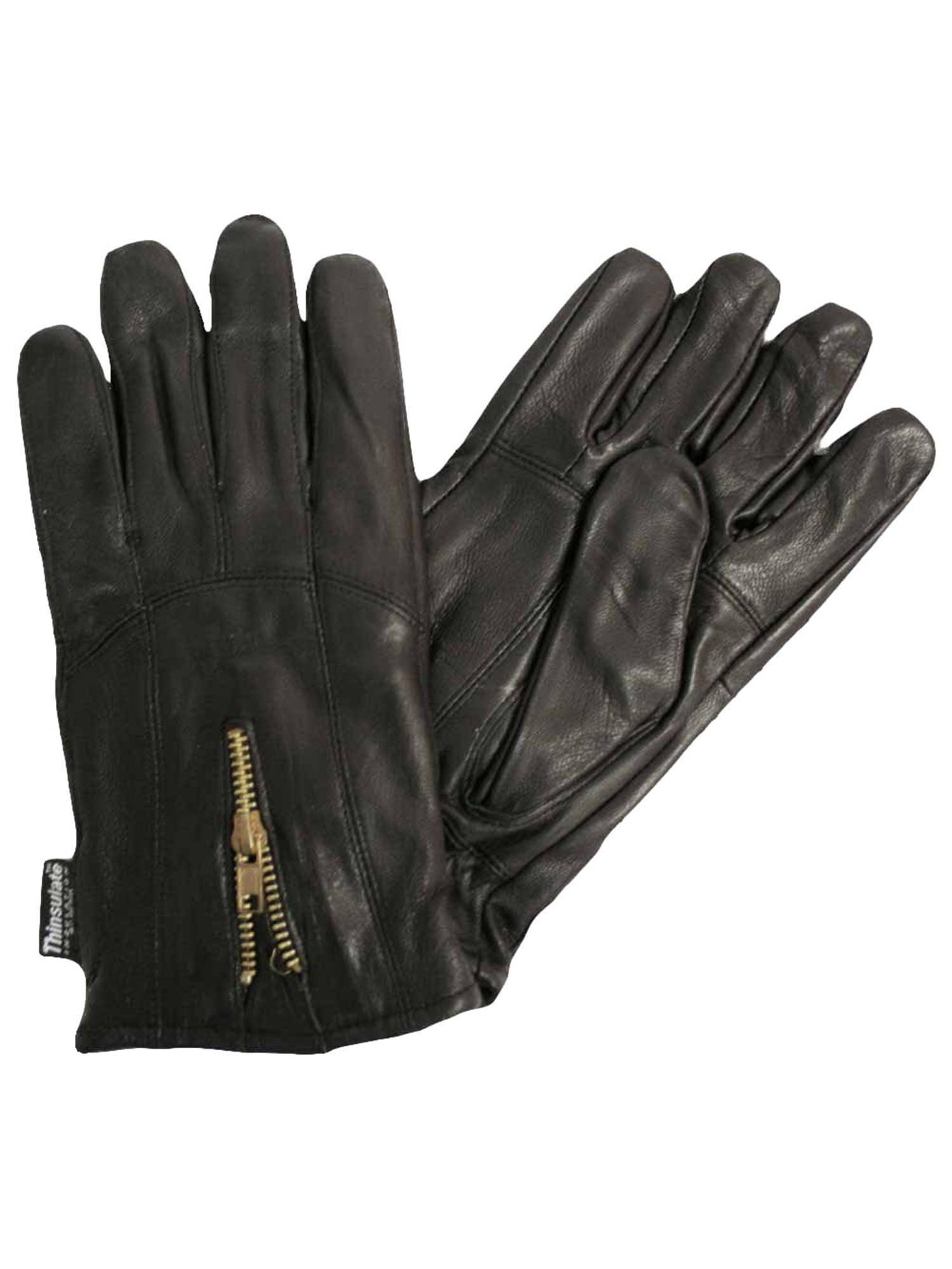 Men/'s Winter 3M Thinsulate Lined Soft Genuine Leather Zipper Wrist Gloves Black