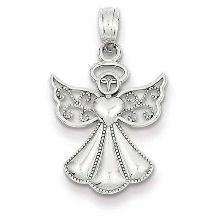 White Gold Baby Angel Pendant - 14k White Gold Polished & Textured Guardian Angel Pendant K5097