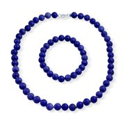 Classic Elegant Royal Blue Dyed Simulated Lapis Color 9MM Ball Beads Strand Necklace Stretch Bracelet Set for Women 925 Silver Clasp
