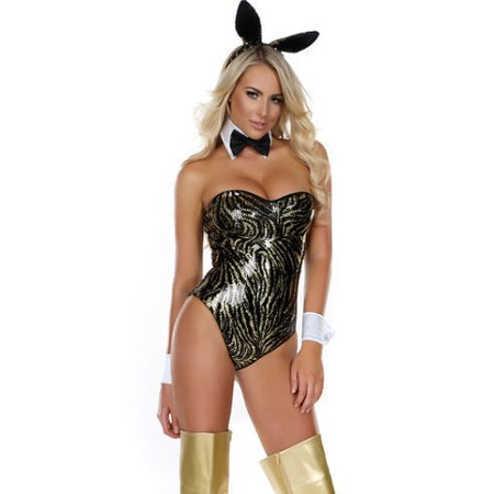 9497a26d8 Sexy Forplay High Class Hare Deluxe Playboy Bunny Bodysuit Women s Costume  LG-XL - image ...