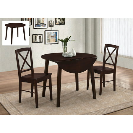 Gaines 3 Piece Kitchen Dining Set, Cappuccino Wood, 39\