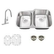 Schon SC267553 Double Basin Undermount Kitchen Sink Set