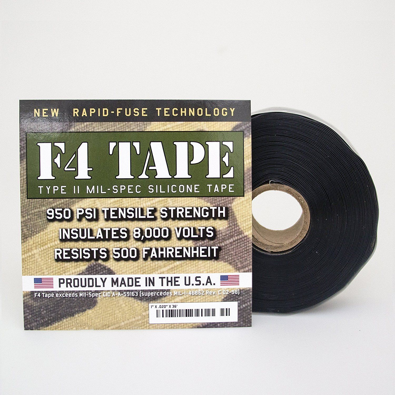 """F4 TAPE, Original Self-Fusing Silicone Tape, MIL-SPEC, 1"""" x 36"""", Black"""