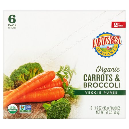 Earths Best Organic Puree Carrots   Broccoli 3 5Oz   Stage 2 Baby Food  Pack Of 6