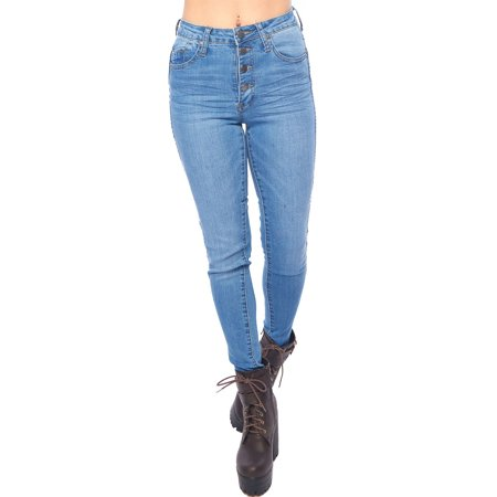 Women High Waist 4 Button Front Skinny Denim Jeans Pants GH17115-1-Lt. Indigo