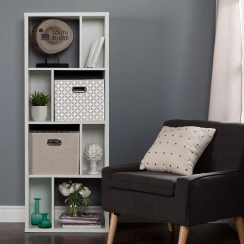 South Shore Reveal 8 Cubby Wood Bookcase in White with 2 Baskets
