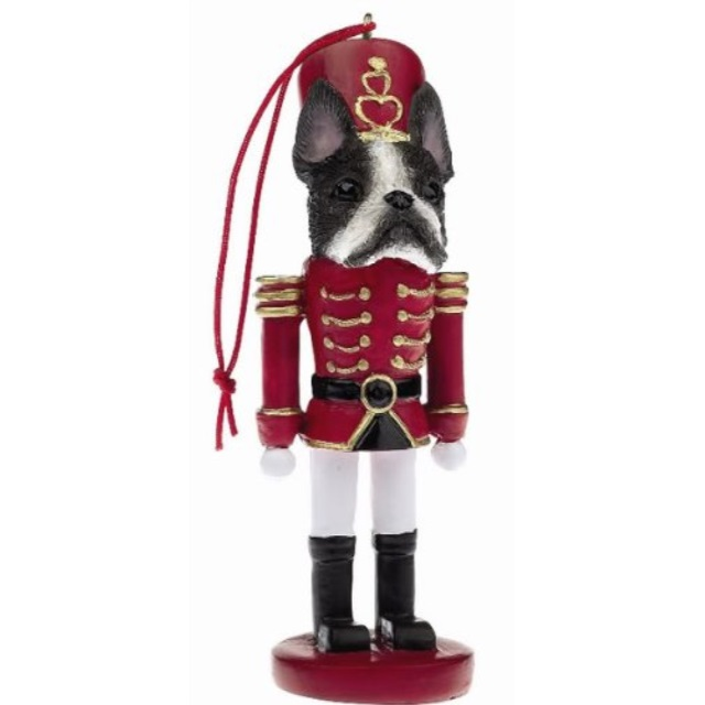 BOXER Cropped Dog Soldier Holiday NUTCRACKER ORNAMENT