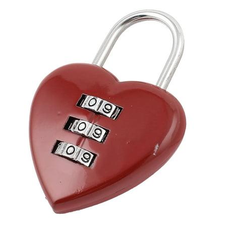 Heart Shape 3 Digits Jewelry Box Resettable Combination Password Padlock Red