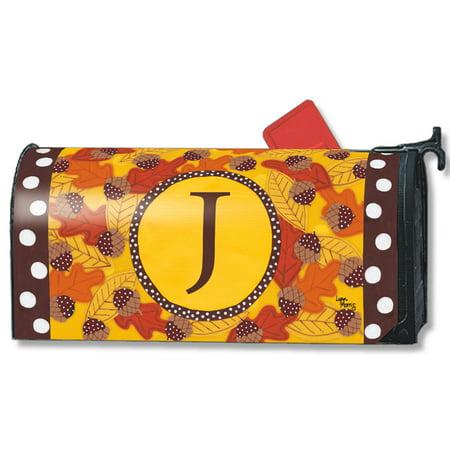 Fall Follies Monogram J Magnetic Mailbox Cover Autumn Leaves Acorns Letter J