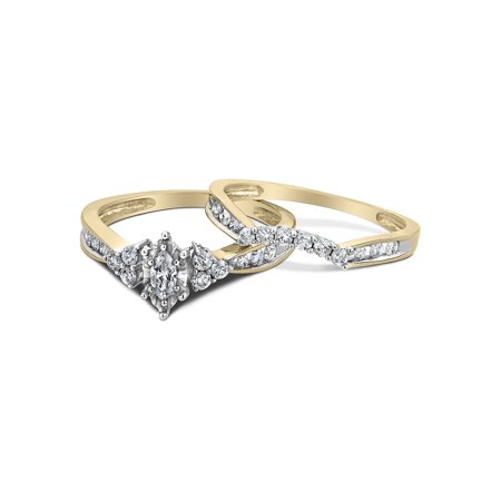 Diamond Marquise Engagement Ring & Wedding Band Set 1/2 Carat (ctw) in 14K Yellow Gold (Marquise Wedding Ring)