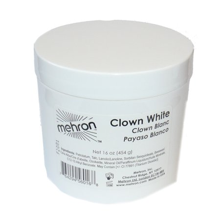 Clown White Makeup Mehron M130 - 2.25oz (Gangster Clown Makeup)