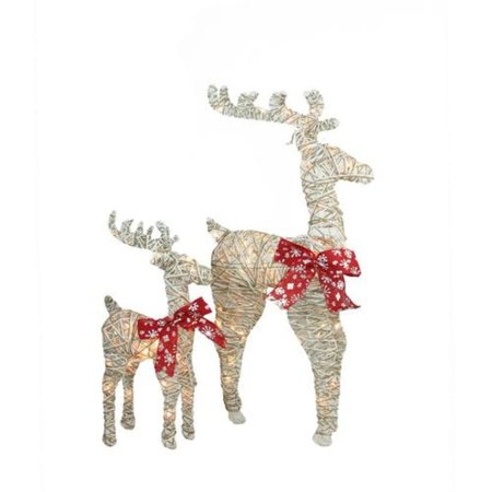 Set of 2 Sparkling Standing Reindeer Christmas Outdoor Decorations ()