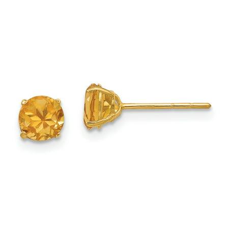 14K Yellow Gold Madi K Round Citrine 5mm Post Earrings - image 2 de 2
