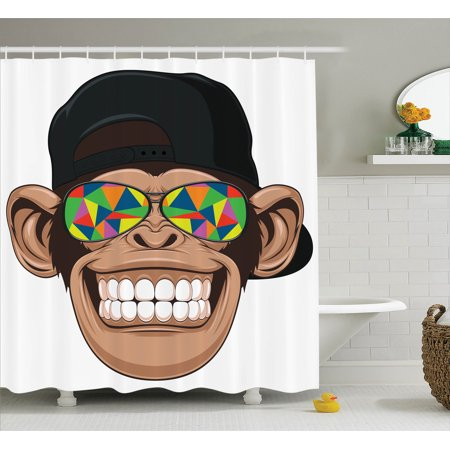 Cartoon Decor Shower Curtain Set Fun Hipster Monkey With Colorful Sunglasses And Hat Rapper Hippie