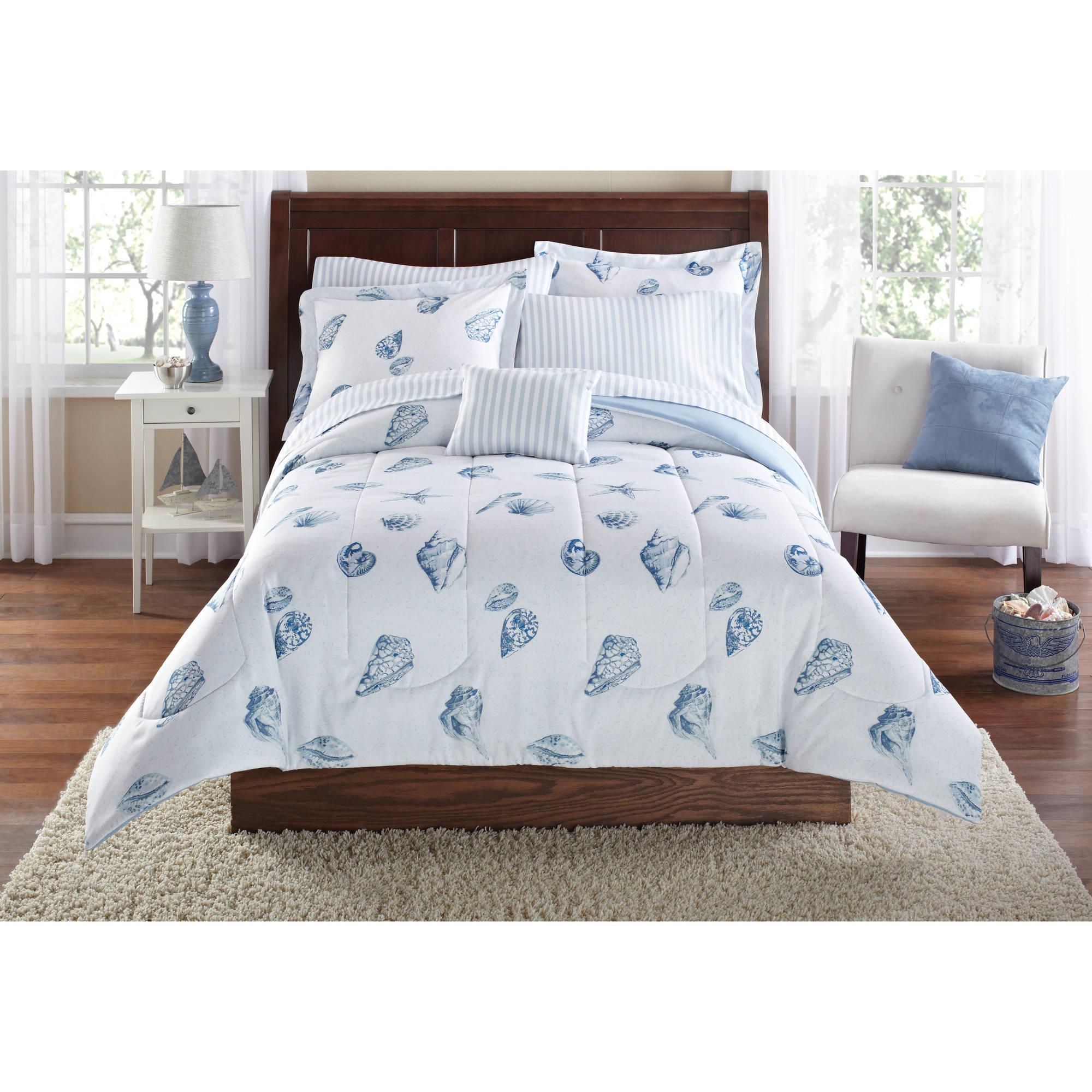 Mainstays Seashells Bed in a Bag Coordinated Bedding Set