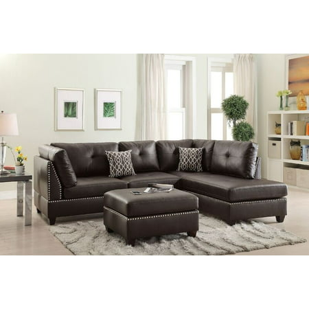 Bobkona Viola Bonded Leather Left or Right hand Chaise Sectional Set with Ottoman in Espresso ()
