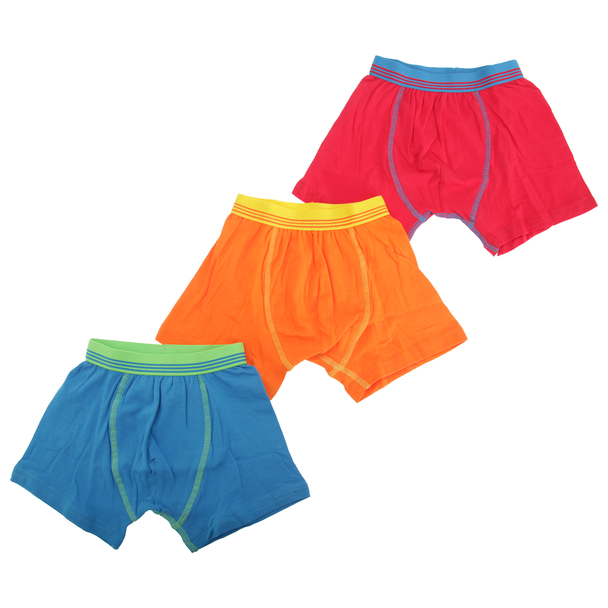 Pack Of 3 Childrens Boys Contrast Band Design Trunks//Boxer Shorts Underwear