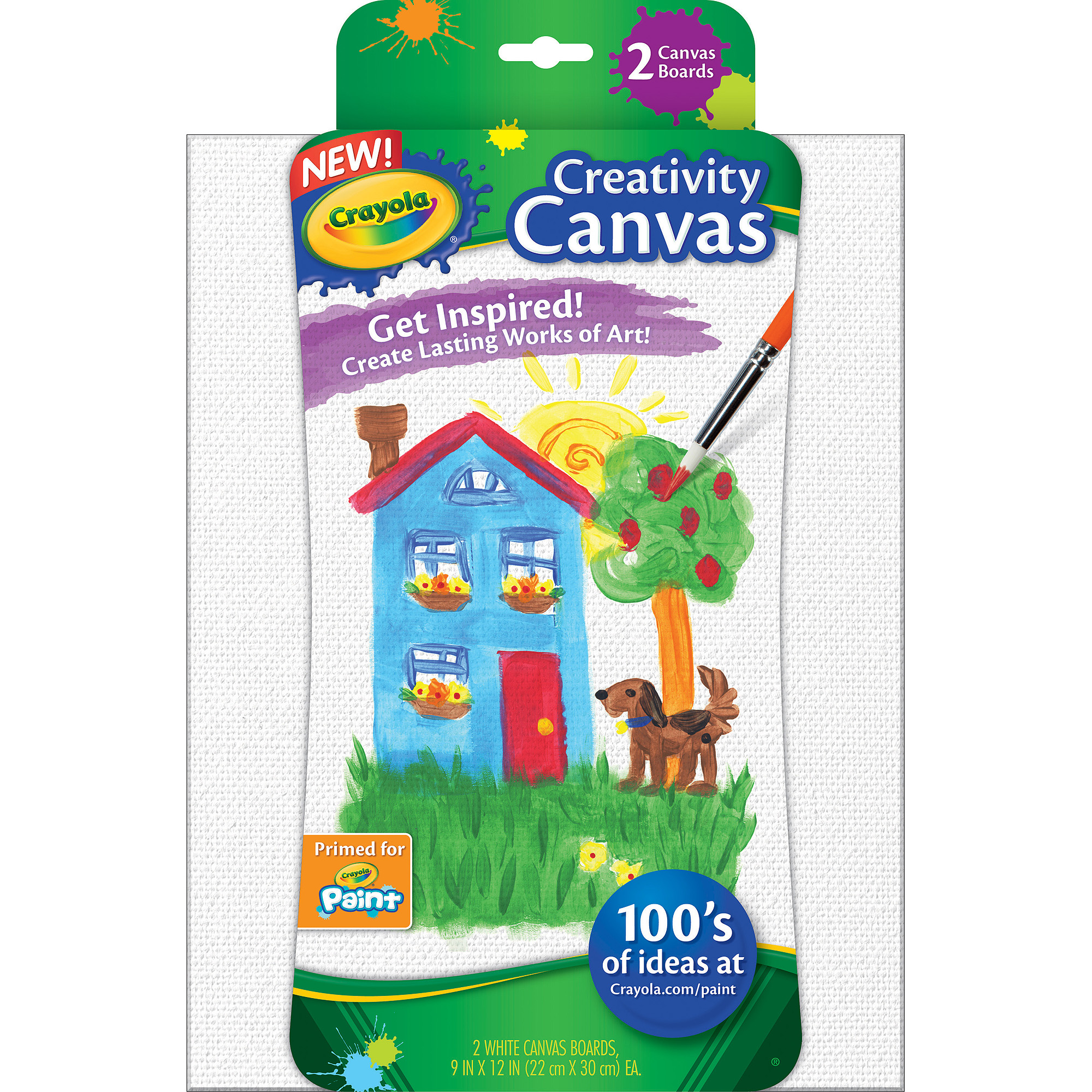 Crayola Paint Canvases, White, 2-Pack