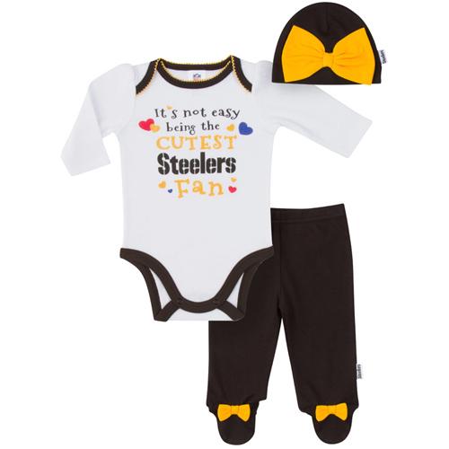 Girls Infant White/Black Pittsburgh Steelers Bodysuit, Pants & Cap Set
