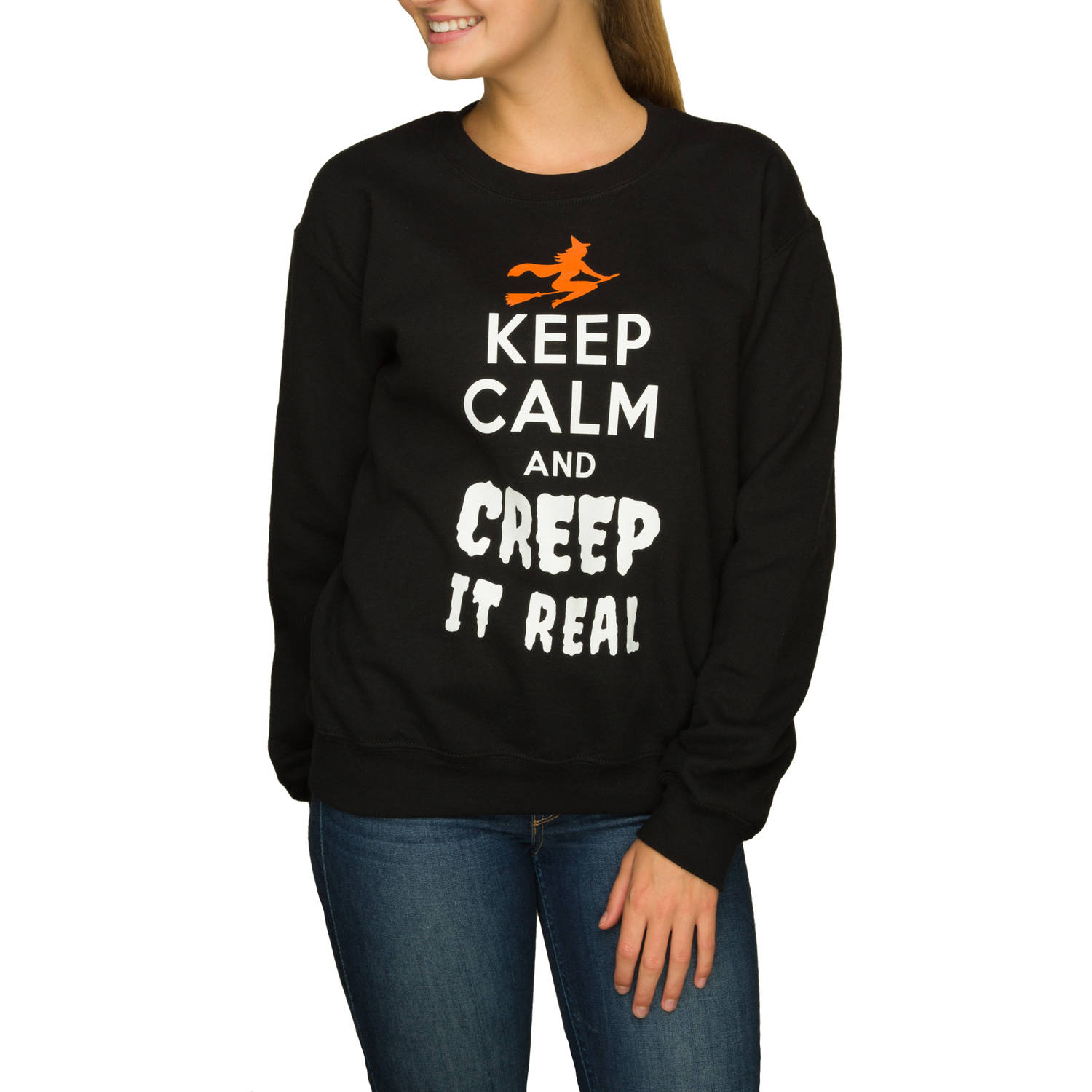 "Juniors' ""Creep It Real"" Halloween Graphic Crewneck Pullover"
