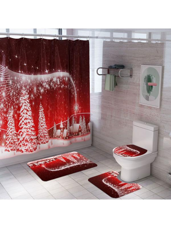 Simplenes 4PCS Christmas Print Shower Curtain Bathroom Mat Set Dry and Wet Separation Non Slip Toilet Pad Cover Bath Mat Toilet Cover Seat Rug Machine Wash,
