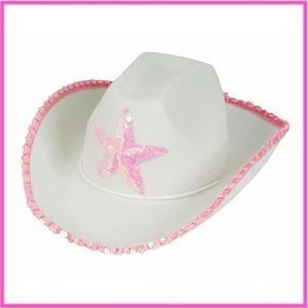 Rhode Island Novelty HACOWWP White Felt Cowgirl Hat with Pink Star - Halloween In Rhode Island
