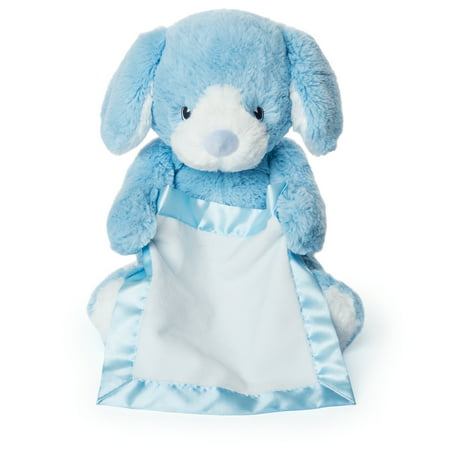 Peek-a-Boo Furry Friends Animated Peek-a-Boo Puppy Plush, Blue, 10u0022