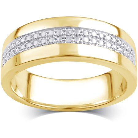 38ede9dd81543 Diamond Accent 14kt Gold Flash Plated Brass Two Row Men's Wedding Band