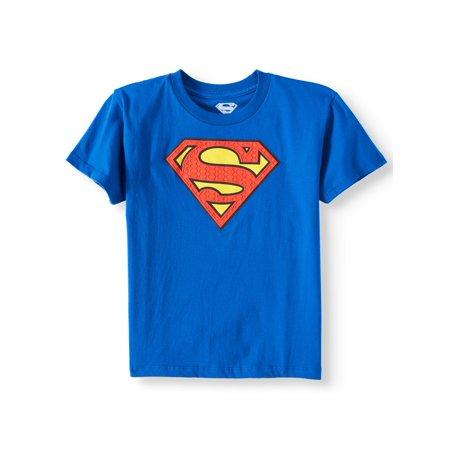 Royal Blue DC Comics Superman Logo with HD Ink Short Sleeve Tee (Little Boys & Big Boys) - Boy With Halo