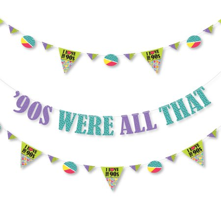 90s Themed Decorations (90's Throwback - 1990's Party Letter Banner Decoration - 36 Banner Cutouts and '90's were All That Banner)