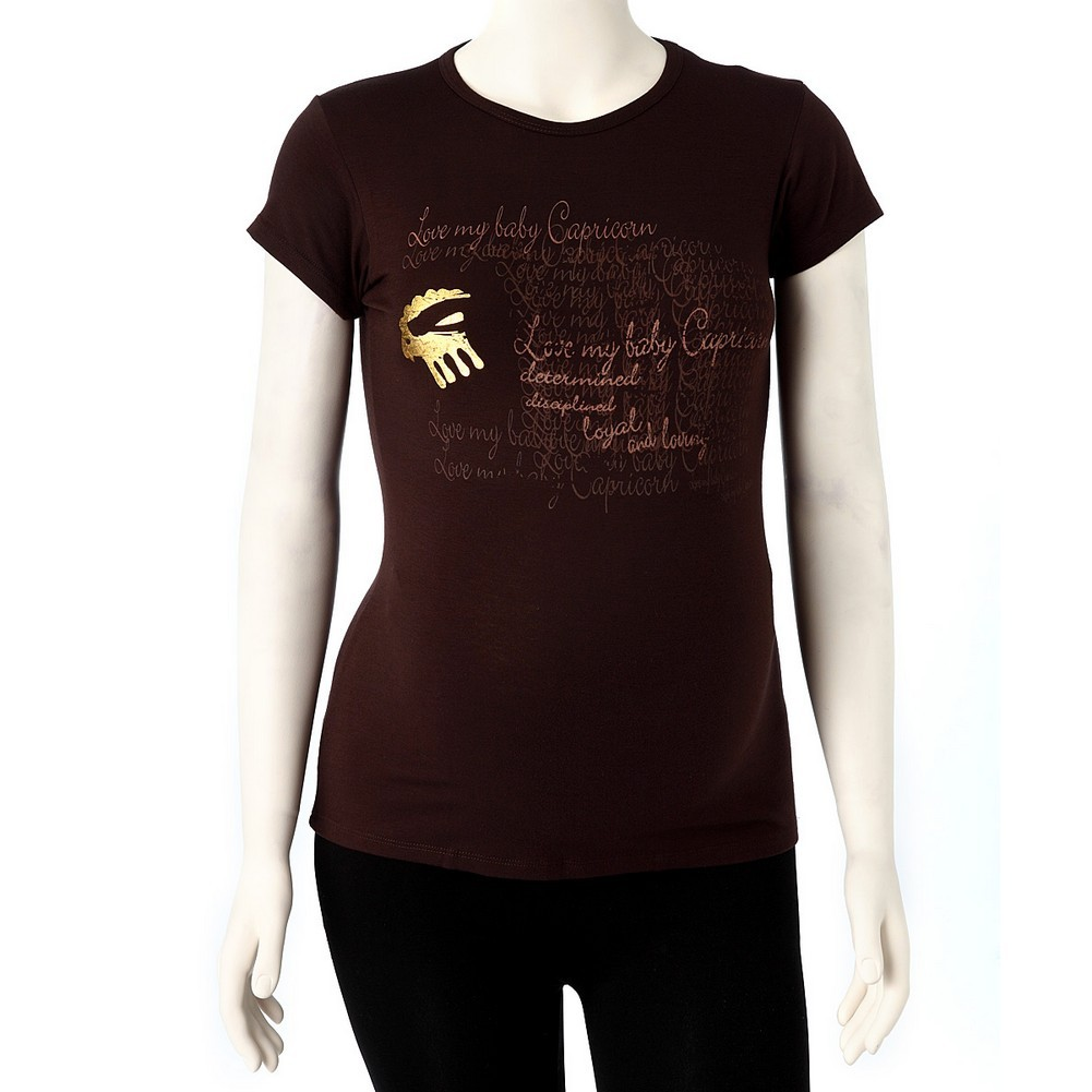 Love My Belly Women Brown Capricorn Short Sleeve Zodiac Maternity T-shirt 1 Size