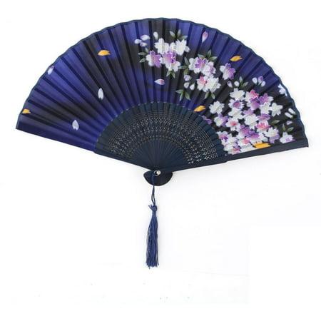 Household Women Dancing Bamboo Frame Blossom Pattern Vintage Pocket Folding Fan