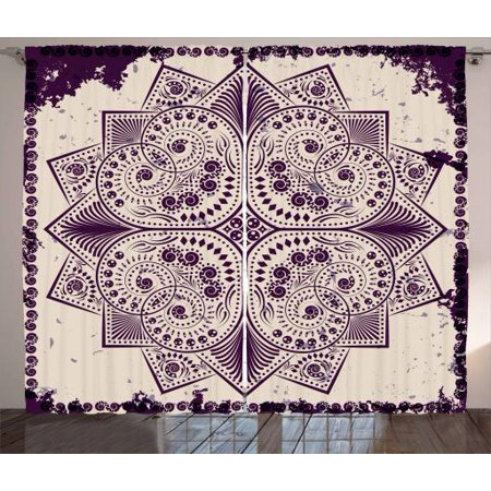 Purple Mandala Curtains 2 Panels Set, Snowflake Form Inspired Geometric Design on Grungy Background, Window Drapes for Living Room Bedroom, 108W X 90L Inches, Dark Purple and Eggshell, by Ambesonne